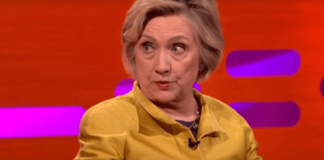 Hillary Clinton Promotes her book while bashing the President of the United states, Photo captured from video.